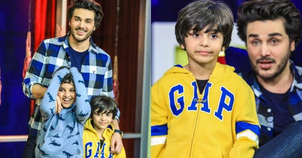 Latest Clicks of Ahsan Khan with his kids on the sets of Bol Nights