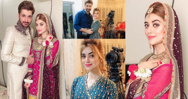 Beautiful Clicks of Syed Jibran with Wife Afifa from Sets of Their Upcoming Drama