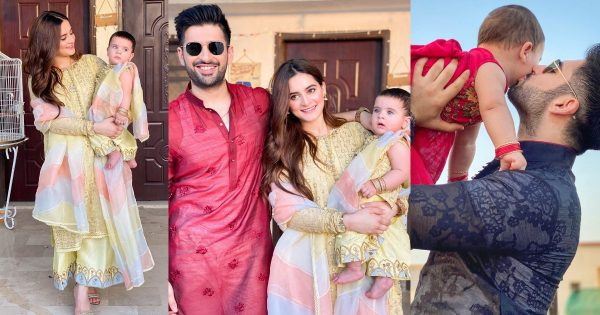 Beautiful Eid Pictures of Aiman Khan and Muneeb Butt with Daughter Amal