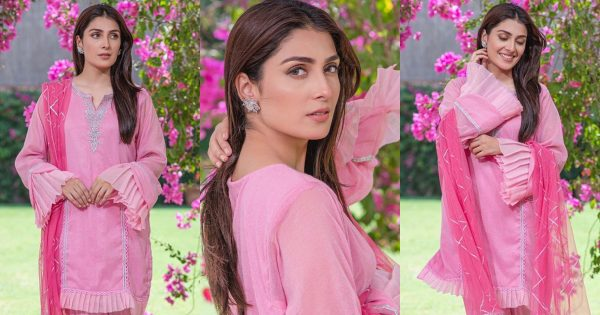 Latest Pictures of Beautiful Ayeza Khan in Pink Dress