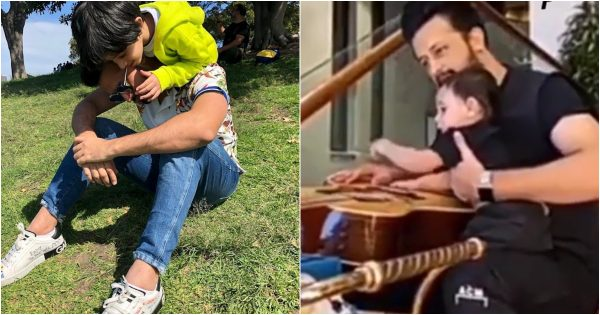 Adorable Video of Atif Aslam with his Son Playing Guitar