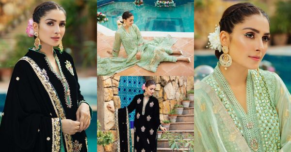 Beautiful Shoot of Ayeza Khan in Black and Green Dresses by RJ's Pret