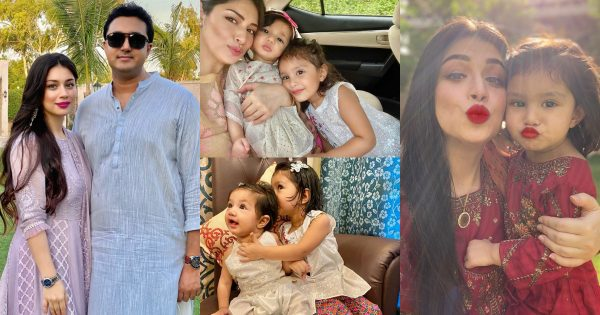Latest Clicks of Actress Sidra Batool with her Cute Daughters