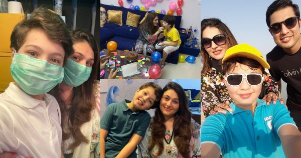 Beautiful Clicks of Qurat ul Ain Iqrar Celebrating her Birthday with her Son Pehlaaj