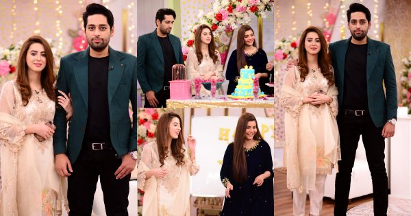Salman Saeed with his Wife Aleena in Good Morning Pakistan