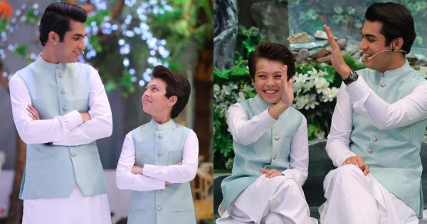 Iqrar-ul-Hassan with his Son Pehlaaj On Set Of Shan-e-Ramzan