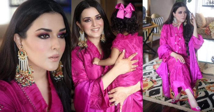 Adorable Pictures of Natasha Ali with her Daughter in Pink