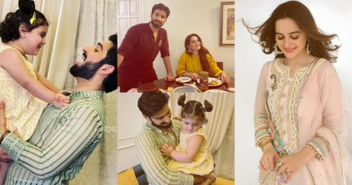 Eid Pictures of Aiman Khan And Muneeb Butt with Daughter Amal