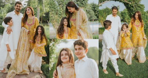 Faiza Saqlain Beautiful Eid Pictures With Her Family